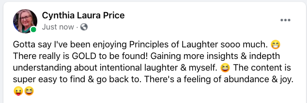 Laughter Gym testimonial from Karen Gleason